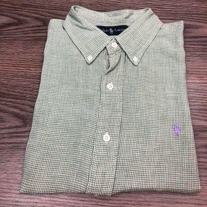 Polo Ralph Lauren Green Gingham Linen Shirt L
